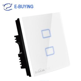 Wholesale Touch Control Gang - Wholesale-New EU Standard Broadlink TC2 Wireless 2 3 Gang Wall Light Switch Wifi Remote Control Touch Screen Switch Smart Home Automation