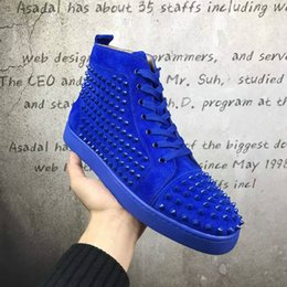 Wholesale Calf Height Boots - 2017New arrival high top spikes men's flat blue suede calf sneakers,designer women's flat boots spring autumn causal shoes size 36-46