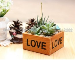 Wholesale Planter Box Gardening - NEW Rustic Natural Wooden LOVE Letter Succulent Plant Flower Bed Pot Box Home Garden Planter Free Shipping MYY