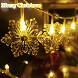 Wholesale Snowflake Decoration Purple - 3 4 10M 30 40 80LEDs Crystal Snowflake Christmas Lights Waterproof AA Battery LED String Light Holiday Garden Decoration Light
