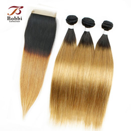 Wholesale Indian Human Hair Raw - Colored Raw Indian Hair Ombre Human Hair Silky Straight T1b 27 Dark Root Honey Blonde Extensions Ombre Hair 3 Bundles with Lace Closure