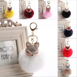 Wholesale Fox Pearl - Inlay Rhinestone Colors Fur Pompom Car Keychain Fox Fur Ball with Artificial Key Chain Gifts Key Women 20 Color C150Q