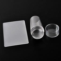 Timbratura di timbri di arte del chiodo online-Modelli di arte del chiodo Pure Clear gelatina in silicone Nail Stamping Piastra raschietto con tappo Nail Timbro trasparente OOA2230