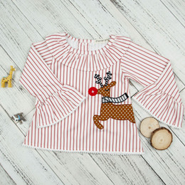 Wholesale Kids Cartoon Embroidery - Children Christmas T-shirt INS Stripe Cartoon Girls Tee Shirt falbala Flare sleeve Kids tops embroidery reindeer Princess Blouse C2676