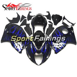 Wholesale Abs Hayabusa Fairings Kit Blue - Full Fairings For Suzuki GSXR1300 Hayabusa Year 97 98 99 00 01 02 03 04 05 06 07 ABS Motorcycle Fairing Kit Boywork Black Blue Flame