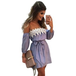 Wholesale Off Shoulder Shirt Lace - Summer Blue Striped Dresses Women 2017 Fashion Ladies Casual A-line Lace Patchwork Slash neck Off Shoulder Shirt Dress Woman