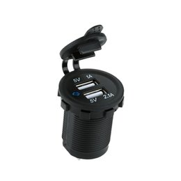 Wholesale Boat Outlet - Wholesale- Auto Motorcycle Dual USB Car Charger Power Adapter Socket Outlet waterproof Mobile Phone Charger Truck Minibus for ATV Boat