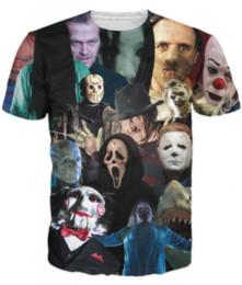 Wholesale Fashion Cinema - Women Men 3D Fashion Harajuku Summer Short Sleeve Cinema Killers T-Shirt Horror Movie Killers Print Tee T Shirts S-5XL H52