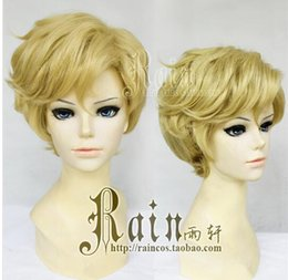 Wholesale Sailor Wig - Free Shipping Anime Sailor Moon Sailor Uranus Cosplay Synthetic Wig Tenoh Haruka Short Golden Yellow Cosplay Wig Heat Resistance