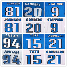 Wholesale Men Matthew Stafford Barry Sanders Johnson Ezekiel Ansah Golden Tate III elite jersey