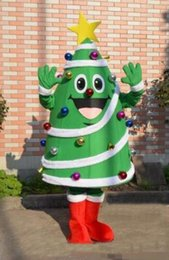 Wholesale Mascot Ball - 2017 High quality Christmas Tree mascot costume with big yellow star and colorful balls newest holiday carnival
