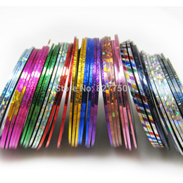 Wholesale Striping Tape Line Nail - New Fashion 100Pcs Lot Mixed Colors Nail Art Tips Decoration Sticker Striping Tape Line High Quality