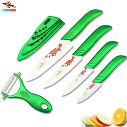 """Wholesale Traditional Chinese Painting Flowers - D034 Beauty Gifts Zirconia green light kitchen Ceramic fruit Knife Set 3"""" 4"""" 5"""" 6"""" inch with Flower painted+ Peeler+Covers"""