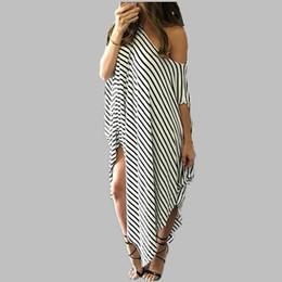 Wholesale Dresses Casual Short Ladies - Oversized Sexy Off Shoulder Women Striped Maxi Dress Summer Ladies Short Sleeve Irregular Long Dresses Plus Size Vestidos