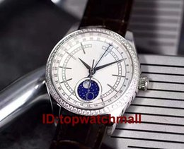 Wholesale Pin Gems - Luxury White Diamond NEW 2017 New Cellini Moonphase Mens Watch Blue Real Leather Strap Sapphire Crystal Fashion Man Automatic Watches