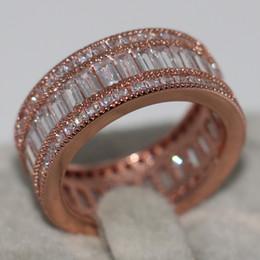 Wholesale Women Ring Gemstone China - Size 5-10 Fashion Luxury Jewelry 10KT Rose Gold Filled Princess Cut Full White Sapphire CZ Diamond Gemstones Women Wedding Band Ring Gift
