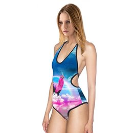 Wholesale 3d Printing Camel - Bikini beachwear 2017 Fashion women 3D Colorful Camel printing one piece swimsuit sexy Halter swimming suit