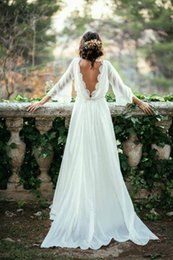 Wholesale Open Back Gold Wedding Dresses - Boho Country Style Boat Neck Wedding Dresses 2018 A Line Chiffon With Lace Long Sleeves Open Back Beach Bridal Gowns Vestidos De