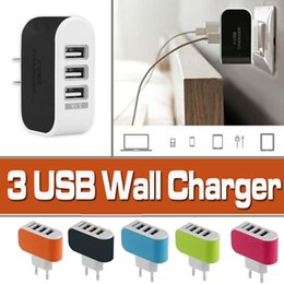Wholesale Dock Adaptor - Wall Charger 3 Ports USB Travel Convenient Power Adaptor For iPhone X 8 7 Plus Home Plug LED USB Charger For Samsung Note 8 S8 S7 edge