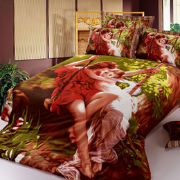 Wholesale Romantic Bedspreads - Hot sale!!!3D Bedding Sets Romantic feeling Printing Adam swing angel cotton Bedspreads Coverlets 4pcs bedding set brand new