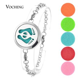 Wholesale Magnetic Chain Bracelets - Essential Oil Diffuser Locket Bracelet 316L Stainless Steel Bangle Perfume Footprint 30mm Magnetic without Felt Pads VA-283