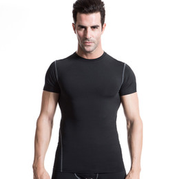 Wholesale Tight Black Shirts - Men's Tight Training PRO Sports Fitness Running Short Sleeve Stretch Short Sleeve Shirt T-Shirt Free shipping!