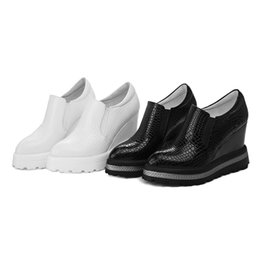 Wholesale High Black Wedge Court Shoes - Fashion 2017 height increase shoes for woman casual breathable high heels wedges platform leather shoes white black