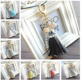 Wholesale Decorative Metal Pieces - New arrival Diamond Bracelet Suzuki Pearl Chain Key Chain Girl Bags Decorative Car Straps KR305 Keychains mix order 20 pieces a lot