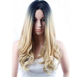 Wholesale Platinum Long Wigs - Nicki Minaj wigs Long Central Part Platinum Blonde Ombre black root Wig Women Black Ombre Blonde Straight Short Bob Synthetic wigs