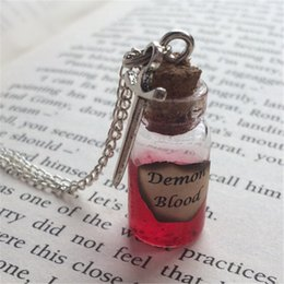 Wholesale Demon Bottle - 12pcs lot Demon Blood Bottle Necklace Pendant sword charm inspired by Supernatural silver tone jewelry