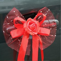 Wholesale Wedding Car Decorations Supplies - Wedding Flower Bouquet Car Decoration Flowers Auto Mirror And Handle Flower Decorate Supplies Gift Box Packaging Colorful 3 8xt J R