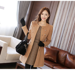 Wholesale Long Sections Trench Coats - Womens Wool Blends Overcoat Coat Slim Fit Trench Double Breasted Winter Long Section Jacket Parka