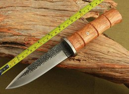 Wholesale Damascus 58hrc - Handmade Forged Damascus Full Tang Wood Handle Hunting Knife H49