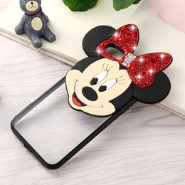 Wholesale Clear Silicone Ears - For iphone 7 cases Diamond Bling Mickey Minnie Mouse Ear Bear Case 3D Cartoon Soft TPU PC transparent Back shell Cover for 6s Plus 5S 5E