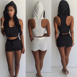 Полосатые короткие комбинезоны онлайн-Wholesale- Striped Tracksuit For Women 2 Piece Jumpsuits Women's Sets Hooded Crop Top and Shorts Striped Running Set Bodysuits