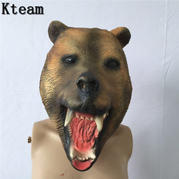 Wholesale Boring Facing Head - Deluxe Quality Adult Costume Novelty Fancy Dress Rubber Latex bear Mask for Party Halloween Scary Dog Head mask Animal Full Head Toys