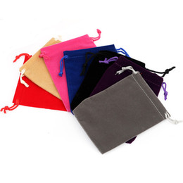Wholesale Wholesale Small Velvet Bags - 10pcs lot 7x9 cm Small Drawstring Black Red Velvet Jewelry Bag Gifts Jewelry Pouches Wedding Christmas Bags Packaging
