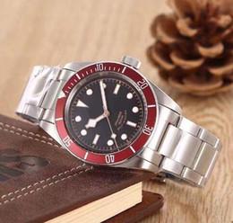 Wholesale Dress Winding - 3 styles AAA luxury brand watches men black bay burgundy watch automatic mvmt mechanical watch stainless strap watches mens dress wristwatch