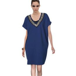 Wholesale Mini Nail Beads - 2017 Eur Style Plus Size New Elegant Summer V-Neck Dress Neckline Nail Bead Short Sleeves Solid Color Dresses