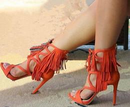 2019 sandálias de vestido de laranja Mais recente designer 2017 verão borlas sandálias gladiador de salto alto orange / blue / black lace up sandália plataforma cut-outs dress sandal sandálias de vestido de laranja barato