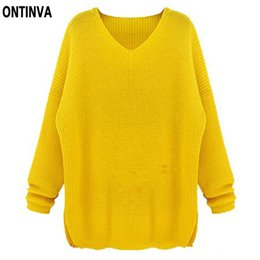 Wholesale Oversized Yellow Sweater - Oversized Yellow Crochet Sweater Women Navy Blue solid Color Pollover Casual Ladies Tops Female 5XL 4XL Big Size Woman Clothes