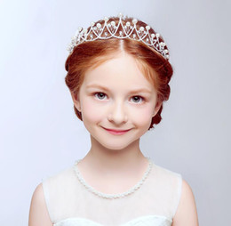 Wholesale Lily Hair Wedding - Crystal Lily Design With Pearls Girls' Head Pieces Children Hair Flower girls Christmas party Wedding Hair Accessories Jewelry 2017 Hot Sale