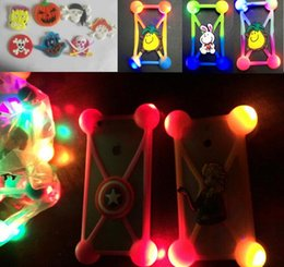 Wholesale Led Cover Phone Case - universal 3D cartoon silicone led case light up bumper luminous covers for iphone 6 6s 7 8 plus samsung s7 s8 note 8 phones Halloween Xmas