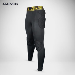 Wholesale Long Sponge - Wholesale- 2017 Professional skiing Soccer Goalkeeper Kits Men Sponge Slim Skinny Football Long Leg Goal Keeper Goalie Sport Training Pants