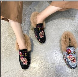 Wholesale Shoes Velvet Slippers - Europe America New Women Shoes velvet embroidery Suede Square head flat Woolen shoes Women Slippers Free shipping