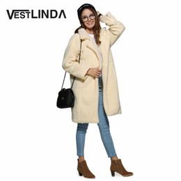 Wholesale Long Cashmere Coat Ladies - VESTLINDA Fashion Turn Down Collar Solid Coat Women Stylish Ladies Wool Blends Winter Open Stitch Wide Waist Long Coat Blends