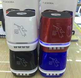 Wholesale wholesale pills - T-2306A Angel Pattern Mini Protable Bluetooth Wireless Speakers Support TF Card VS T-2020A Speaker Shower Waterproof Speaker Pill 2 Speakers