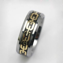 Wholesale mens comfort fit ring - Fashion new Gold plated design Tungsten Ring Comfort Fit Wedding Band for Mens Jewelry size 8, 10, 11, 12, 14
