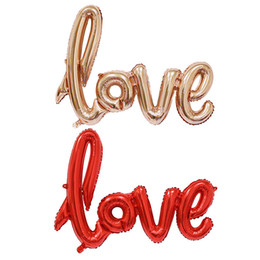 Wholesale Wedding Cup Silver - Ligatures LOVE Letter Foil Balloon Anniversary Wedding Valentines Party Decoration Balloon Red Champagne Cup Drop Shipping
