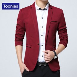 Wholesale Blazer Mens Clothing - Wholesale- Blazer Masculino Slim Fit Men Jacket New 2017 Brand Clothing Costume Homme Single Button Fashion Suit Casual Mens Blazers Tops